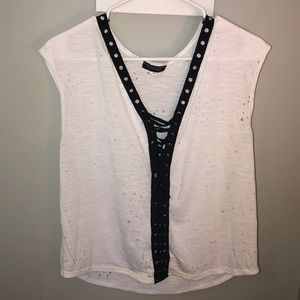 White holey t-shirt with black lace up detail